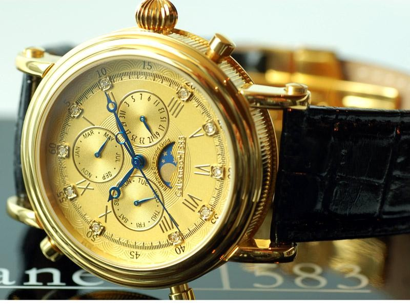 "1583 Estemia ""Gold real Diamond"" Chronograph Swiss Ronda"