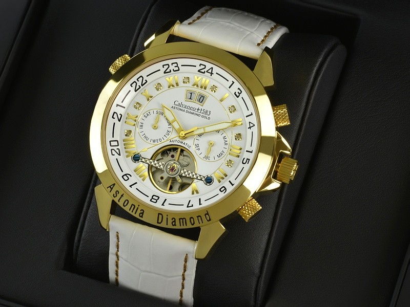 "1583 Astonia ""SNOW DIAMOND Gold"" Diamantbesatz - Automatikuhr"
