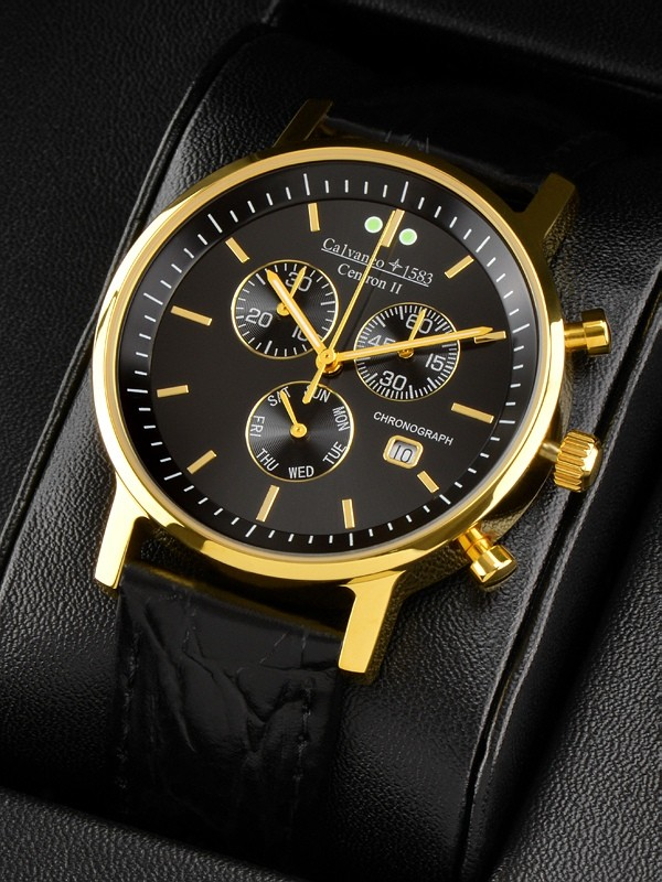 "1583 Centron II ""Gold Black"" Slim Chronograph vergoldet"